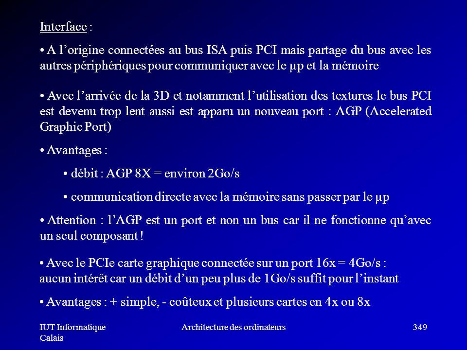 IUT Informatique Calais Architecture des ordinateurs349 Avec larrivée de la 3D et notamment lutilisation des textures le bus PCI est devenu trop lent
