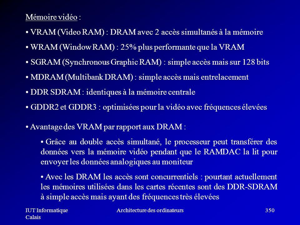 IUT Informatique Calais Architecture des ordinateurs350 Mémoire vidéo : VRAM (Video RAM) : DRAM avec 2 accès simultanés à la mémoire WRAM (Window RAM)