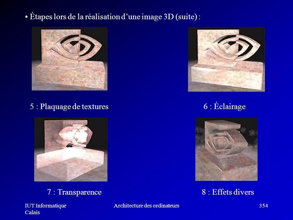 IUT Informatique Calais Architecture des ordinateurs354 Étapes lors de la réalisation dune image 3D (suite) : 5 : Plaquage de textures 6 : Éclairage 7