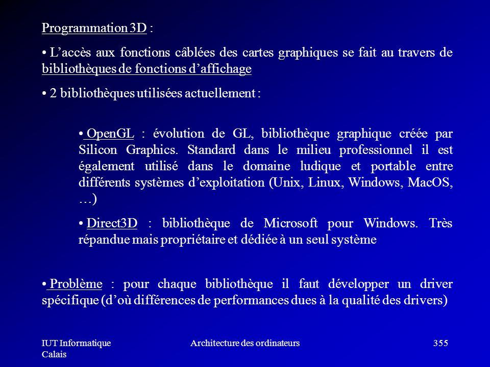 IUT Informatique Calais Architecture des ordinateurs355 Problème : pour chaque bibliothèque il faut développer un driver spécifique (doù différences d