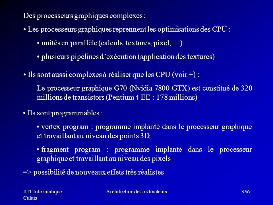 IUT Informatique Calais Architecture des ordinateurs356 Ils sont aussi complexes à réaliser que les CPU (voir +) : Le processeur graphique G70 (Nvidia
