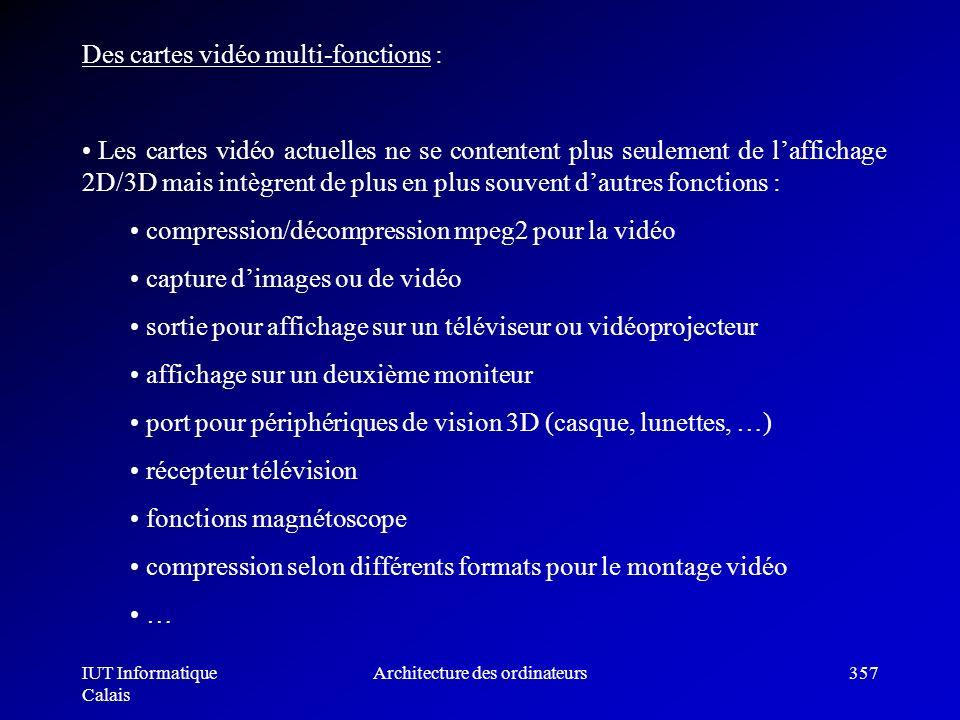 IUT Informatique Calais Architecture des ordinateurs357 capture dimages ou de vidéo sortie pour affichage sur un téléviseur ou vidéoprojecteur afficha