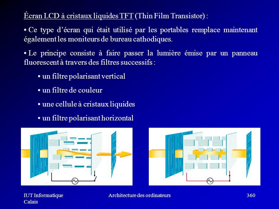 IUT Informatique Calais Architecture des ordinateurs360 Écran LCD à cristaux liquides TFT (Thin Film Transistor) : Ce type décran qui était utilisé pa