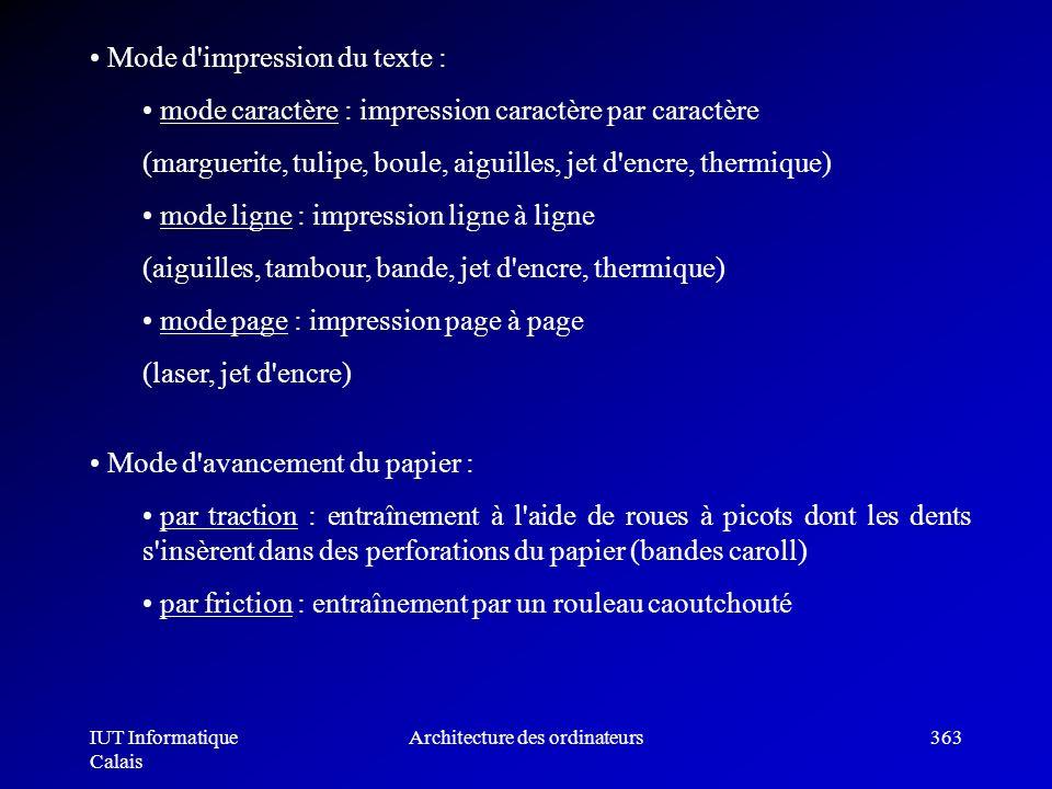 IUT Informatique Calais Architecture des ordinateurs363 Mode d'impression du texte : mode caractère : impression caractère par caractère (marguerite,