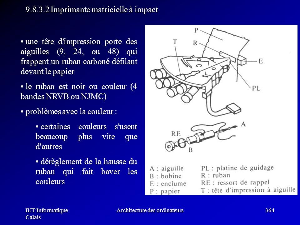 IUT Informatique Calais Architecture des ordinateurs364 9.8.3.2 Imprimante matricielle à impact une tête d'impression porte des aiguilles (9, 24, ou 4