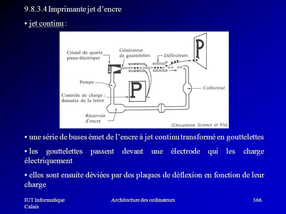 IUT Informatique Calais Architecture des ordinateurs366 9.8.3.4 Imprimante jet dencre jet continu : une série de buses émet de lencre à jet continu tr