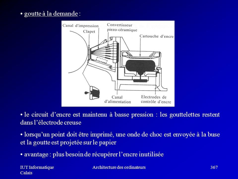 IUT Informatique Calais Architecture des ordinateurs367 goutte à la demande : le circuit dencre est maintenu à basse pression : les gouttelettes reste