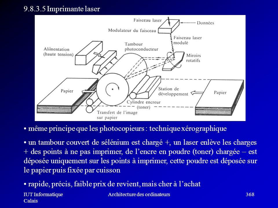 IUT Informatique Calais Architecture des ordinateurs368 9.8.3.5 Imprimante laser même principe que les photocopieurs : technique xérographique un tamb