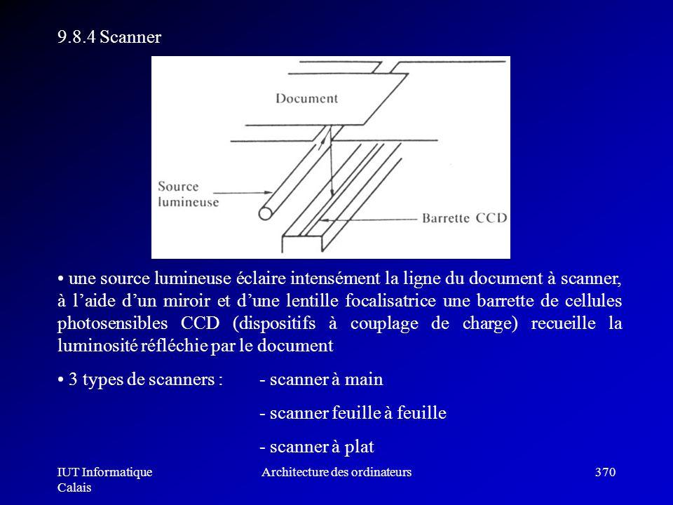 IUT Informatique Calais Architecture des ordinateurs370 9.8.4 Scanner une source lumineuse éclaire intensément la ligne du document à scanner, à laide