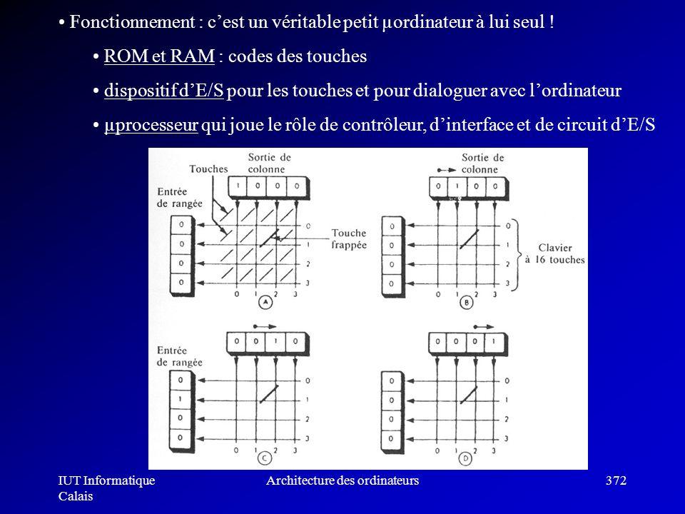 IUT Informatique Calais Architecture des ordinateurs372 Fonctionnement : cest un véritable petit µordinateur à lui seul ! ROM et RAM : codes des touch