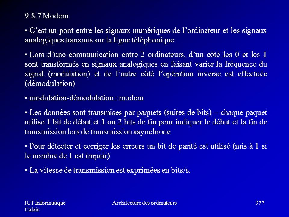 IUT Informatique Calais Architecture des ordinateurs377 9.8.7 Modem Cest un pont entre les signaux numériques de lordinateur et les signaux analogique