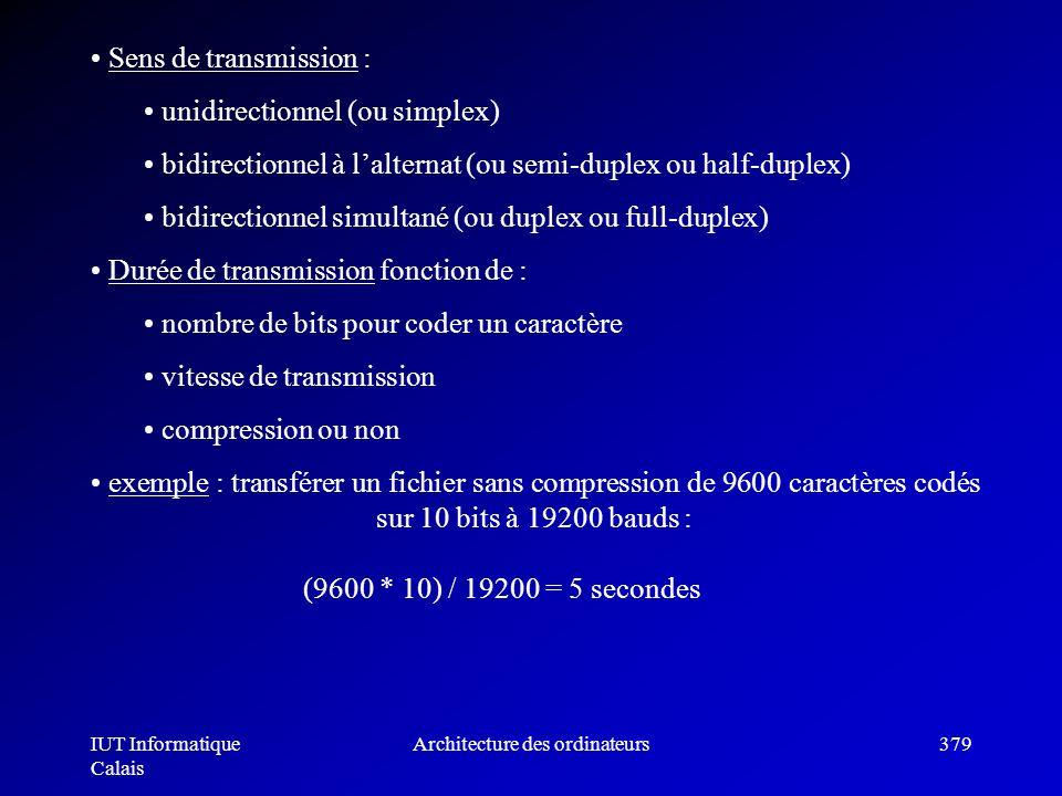 IUT Informatique Calais Architecture des ordinateurs379 Sens de transmission : unidirectionnel (ou simplex) bidirectionnel à lalternat (ou semi-duplex