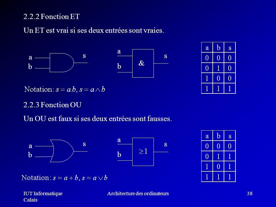 IUT Informatique Calais Architecture des ordinateurs38 2.2.2 Fonction ET Un ET est vrai si ses deux entrées sont vraies. b a s a b s & 2.2.3 Fonction