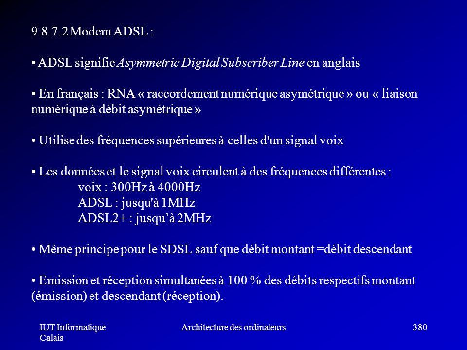 IUT Informatique Calais Architecture des ordinateurs380 9.8.7.2 Modem ADSL : ADSL signifie Asymmetric Digital Subscriber Line en anglais En français :