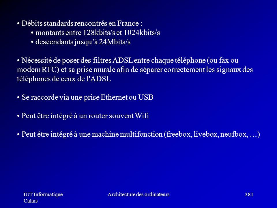 IUT Informatique Calais Architecture des ordinateurs381 Débits standards rencontrés en France : montants entre 128kbits/s et 1024kbits/s descendants j