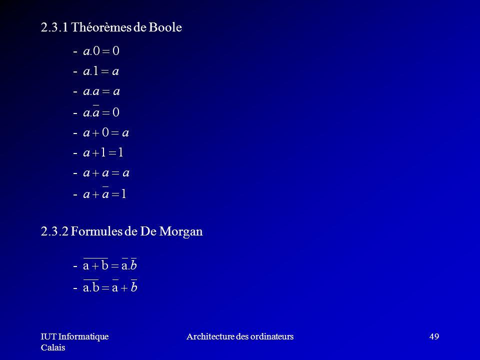 IUT Informatique Calais Architecture des ordinateurs49 2.3.1 Théorèmes de Boole 2.3.2 Formules de De Morgan