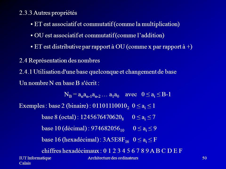 IUT Informatique Calais Architecture des ordinateurs50 2.3.3 Autres propriétés ET est associatif et commutatif (comme la multiplication) OU est associ