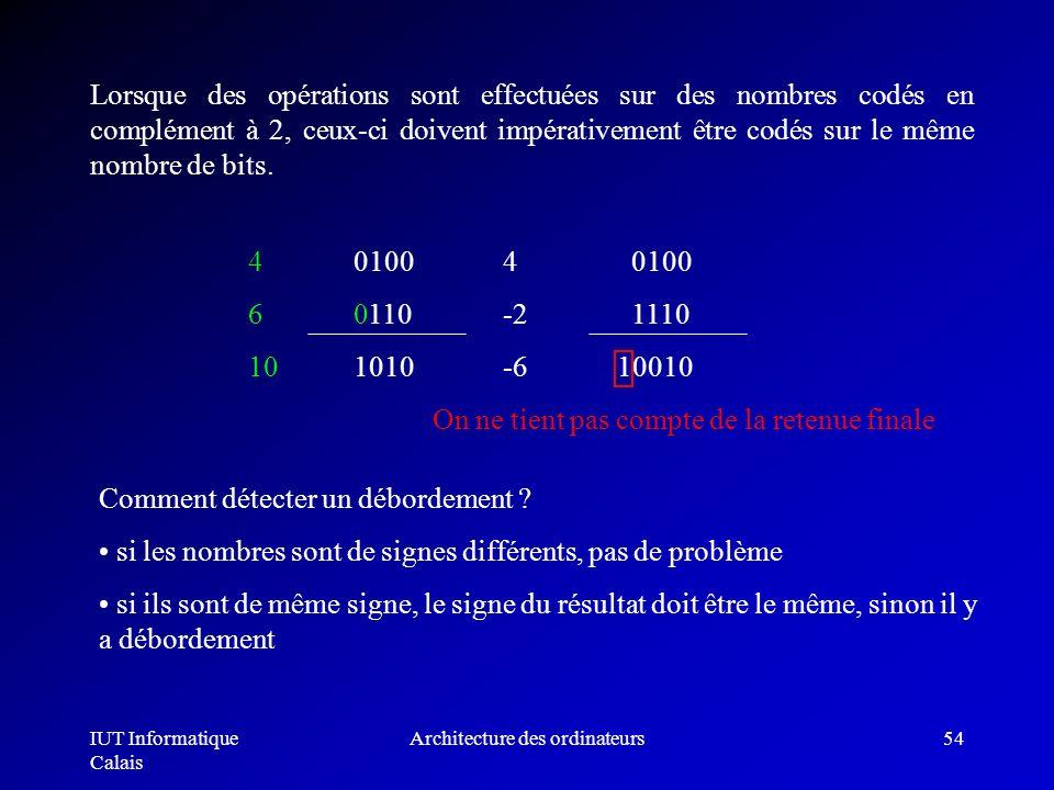 IUT Informatique Calais Architecture des ordinateurs54 Lorsque des opérations sont effectuées sur des nombres codés en complément à 2, ceux-ci doivent