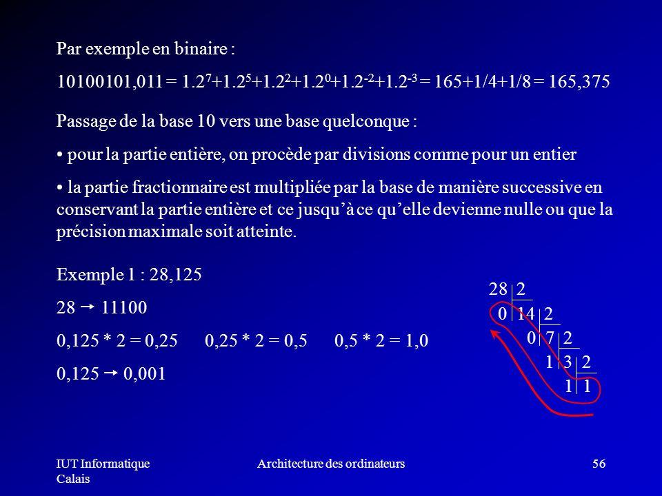IUT Informatique Calais Architecture des ordinateurs56 Par exemple en binaire : 10100101,011 = 1.2 7 +1.2 5 +1.2 2 +1.2 0 +1.2 -2 +1.2 -3 = 165+1/4+1/