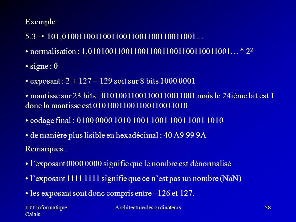 IUT Informatique Calais Architecture des ordinateurs58 Exemple : 5,3 101,010011001100110011001100110011001… normalisation : 1,010100110011001100110011