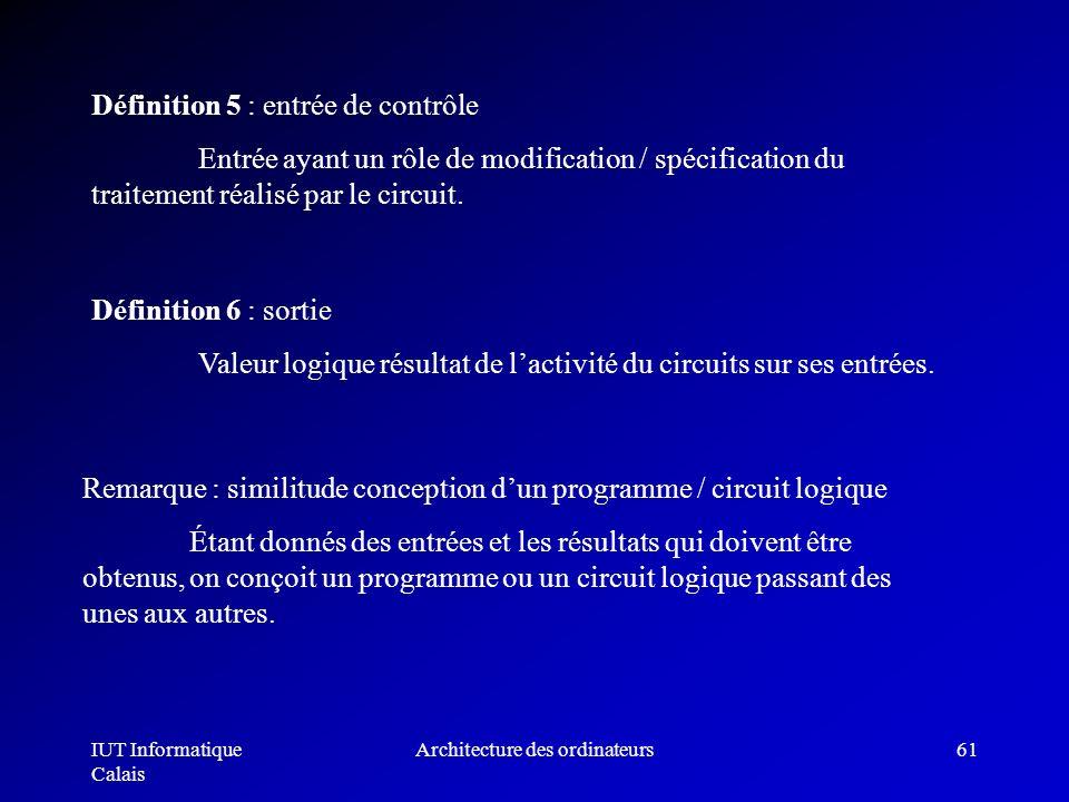 IUT Informatique Calais Architecture des ordinateurs61 Définition 5 : entrée de contrôle Entrée ayant un rôle de modification / spécification du trait