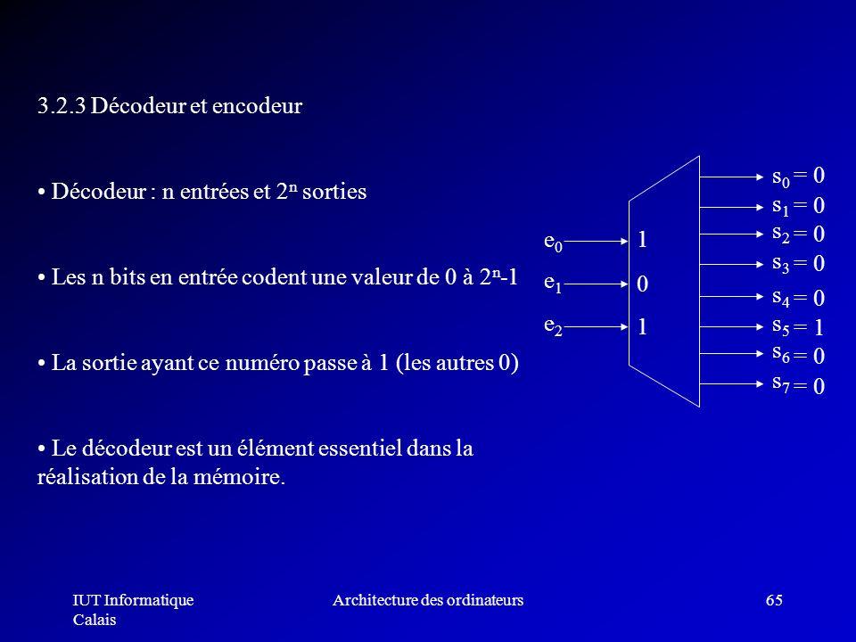 IUT Informatique Calais Architecture des ordinateurs65 3.2.3 Décodeur et encodeur Décodeur : n entrées et 2 n sorties Les n bits en entrée codent une
