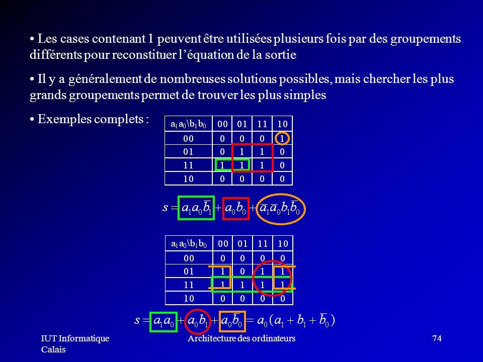 IUT Informatique Calais Architecture des ordinateurs74 Les cases contenant 1 peuvent être utilisées plusieurs fois par des groupements différents pour
