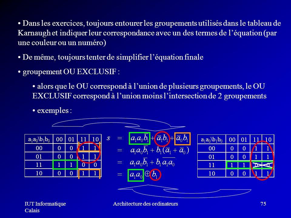 IUT Informatique Calais Architecture des ordinateurs75 Dans les exercices, toujours entourer les groupements utilisés dans le tableau de Karnaugh et i