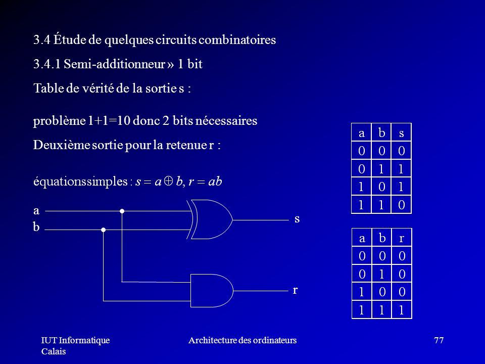 IUT Informatique Calais Architecture des ordinateurs77 3.4 Étude de quelques circuits combinatoires 3.4.1 Semi-additionneur » 1 bit Table de vérité de