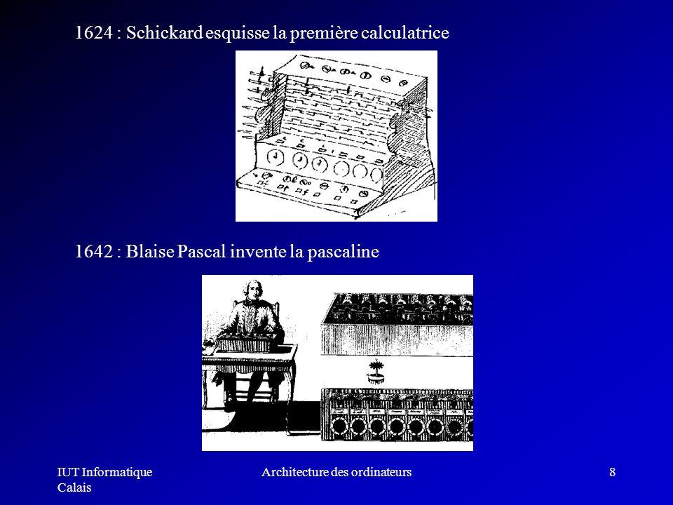 IUT Informatique Calais Architecture des ordinateurs8 1624 : Schickard esquisse la première calculatrice 1642 : Blaise Pascal invente la pascaline