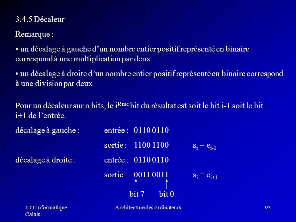 IUT Informatique Calais Architecture des ordinateurs93 3.4.5 Décaleur Remarque : un décalage à gauche dun nombre entier positif représenté en binaire