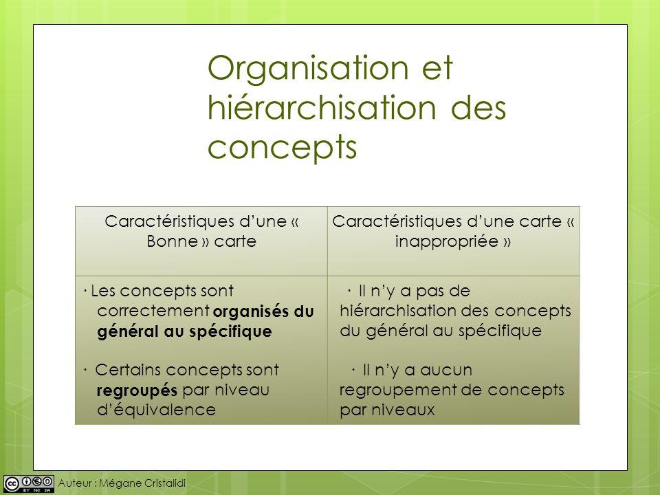 Auteur : Mégane Cristalidi Organisation et hiérarchisation des concepts Caractéristiques dune « Bonne » carte Caractéristiques dune carte « inappropri