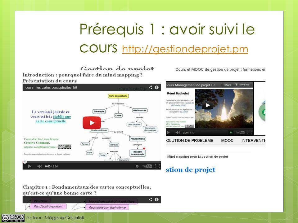 Auteur : Mégane Cristalidi Prérequis 1 : avoir suivi le cours http://gestiondeprojet.pm http://gestiondeprojet.pm