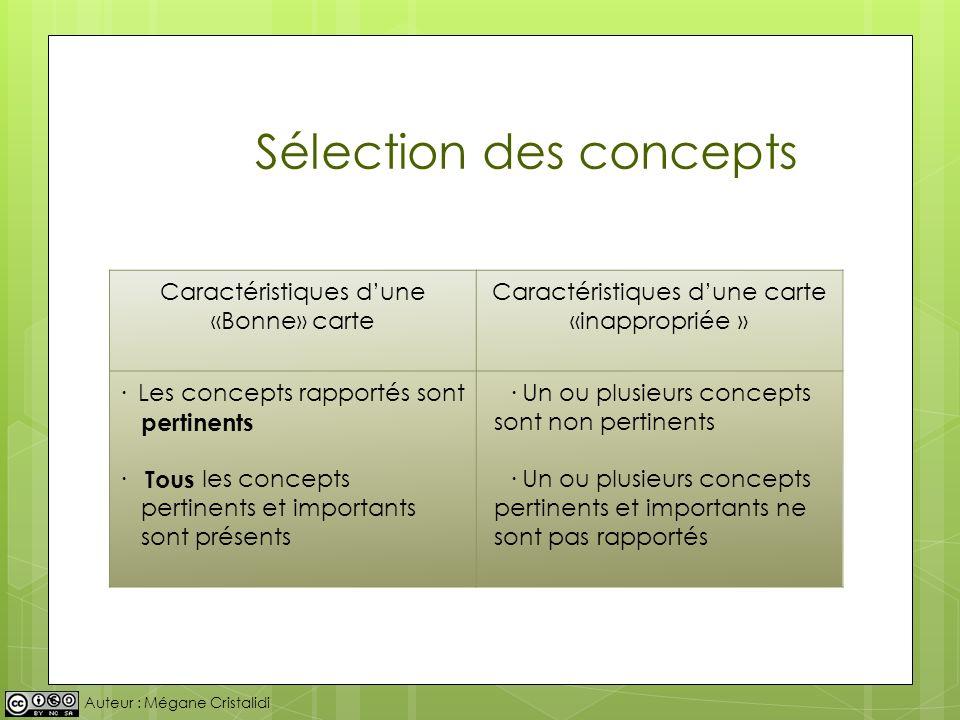 Auteur : Mégane Cristalidi Sélection des concepts Caractéristiques dune «Bonne» carte Caractéristiques dune carte «inappropriée » · Les concepts rappo