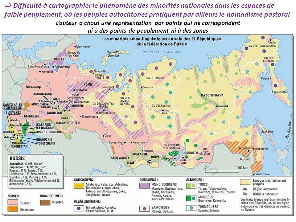 Difficulté à cartographier le phénomène des minorités nationales dans les espaces de faible peuplement, où les peuples autochtones pratiquent par aill
