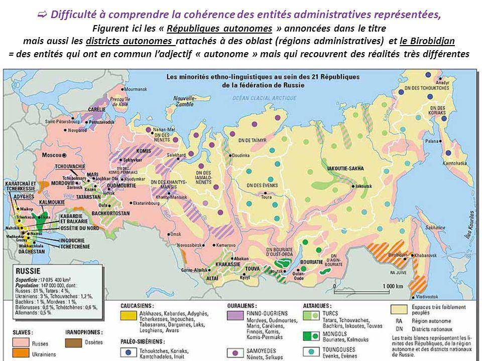 Difficulté à comprendre la cohérence des entités administratives représentées, Figurent ici les « Républiques autonomes » annoncées dans le titre mais