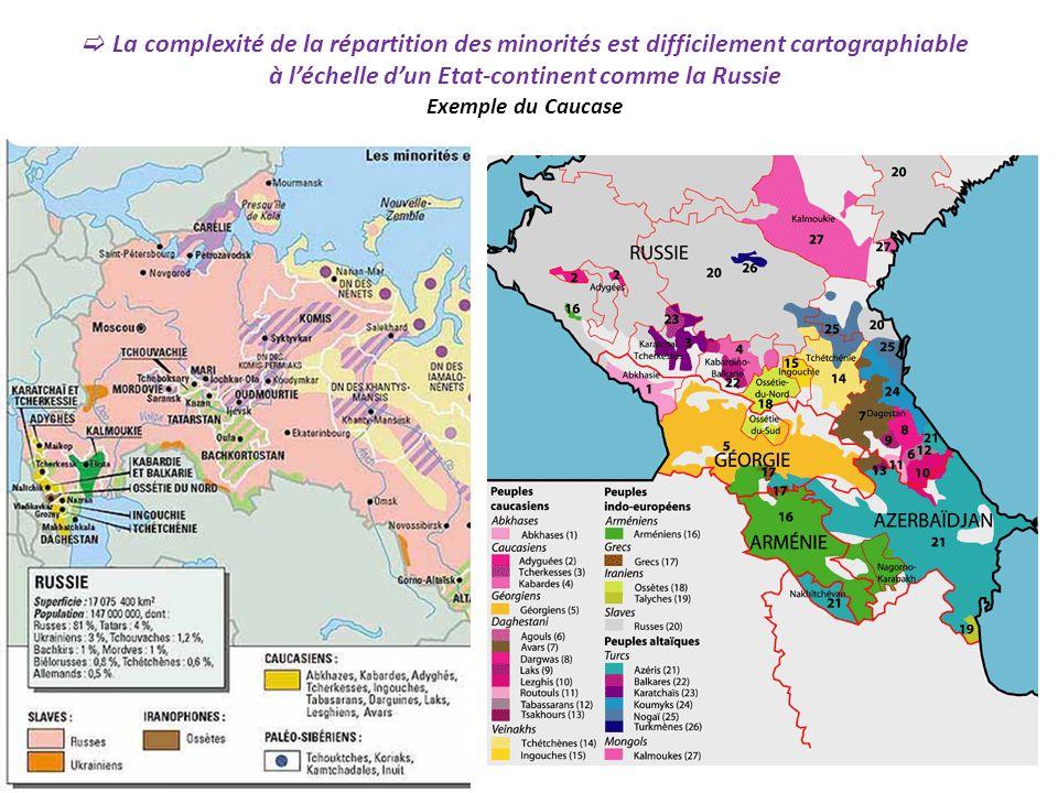 La complexité de la répartition des minorités est difficilement cartographiable à léchelle dun Etat-continent comme la Russie Exemple du Caucase