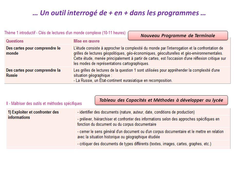 … Un outil interrogé de + en + dans les programmes … Nouveau Programme de Terminale Tableau des Capacités et Méthodes à développer au lycée