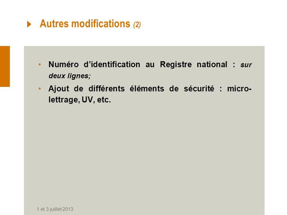 Autres modifications (2) Numéro didentification au Registre national : sur deux lignes; Ajout de différents éléments de sécurité : micro- lettrage, UV, etc.