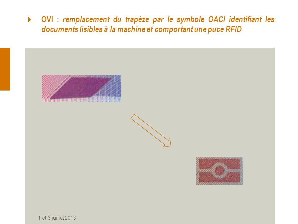 OVI : remplacement du trapèze par le symbole OACI identifiant les documents lisibles à la machine et comportant une puce RFID 1 et 3 juillet 2013