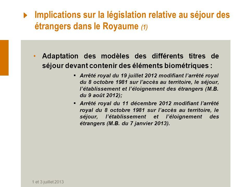Implications sur la législation relative au séjour des étrangers dans le Royaume (1) Adaptation des modèles des différents titres de séjour devant con