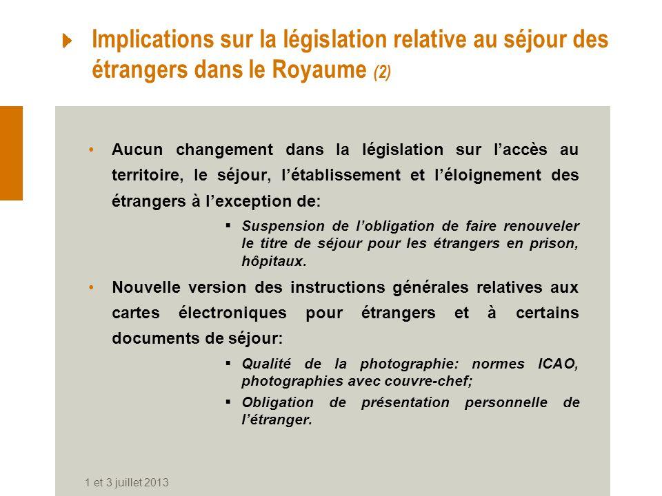Implications sur la législation relative au séjour des étrangers dans le Royaume (2) Aucun changement dans la législation sur laccès au territoire, le