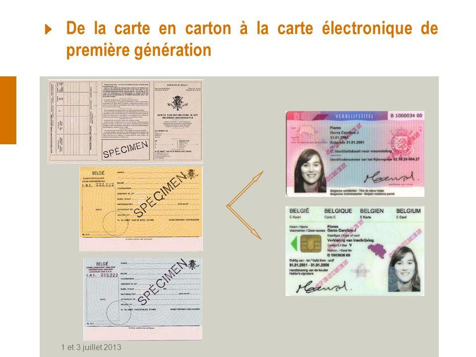 1 et 3 juillet 2013 De la carte en carton à la carte électronique de première génération