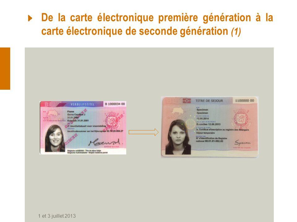1 et 3 juillet 2013 De la carte électronique première génération à la carte électronique de seconde génération (1)