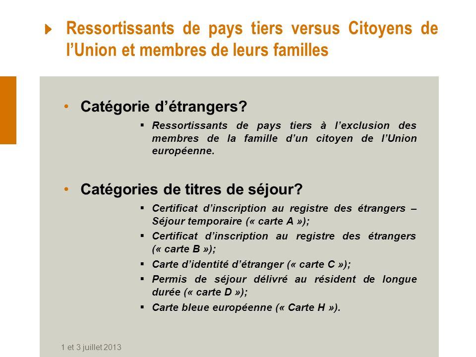 1 et 3 juillet 2013 Ressortissants de pays tiers versus Citoyens de lUnion et membres de leurs familles Catégorie détrangers? Ressortissants de pays t