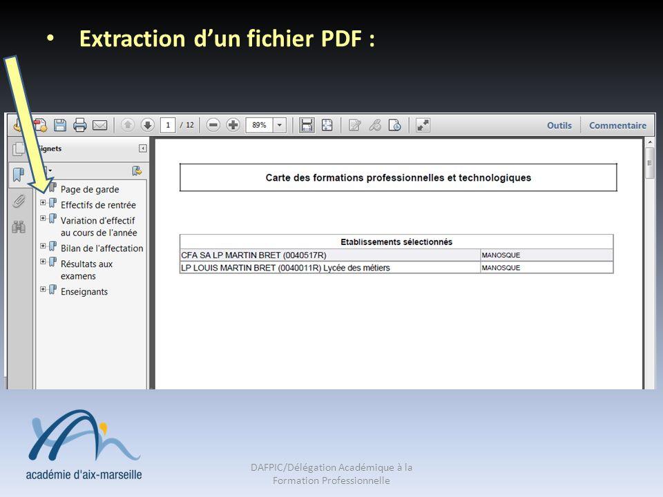 Extraction dun fichier PDF : DAFPIC/Délégation Académique à la Formation Professionnelle