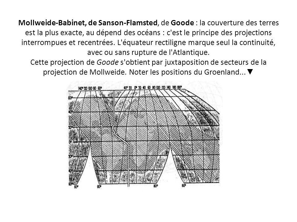 Mollweide-Babinet, de Sanson-Flamsted, de Goode : la couverture des terres est la plus exacte, au dépend des océans : c est le principe des projections interrompues et recentrées.