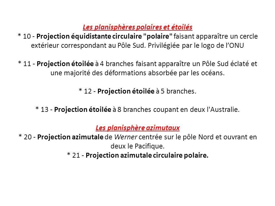 Les planisphères polaires et étoilés * 10 - Projection équidistante circulaire polaire faisant apparaître un cercle extérieur correspondant au Pôle Sud.