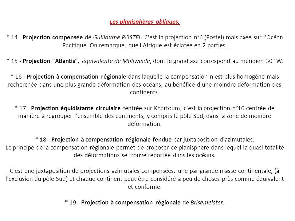 Les planisphères obliques.* 14 - Projection compensée de Guillaume POSTEL.