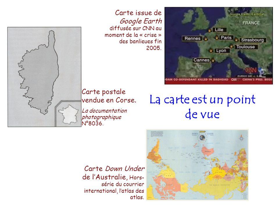 Carte postale vendue en Corse. La documentation photographique N°8036. Carte issue de Google Earth diffusée sur CNN au moment de la « crise » des banl